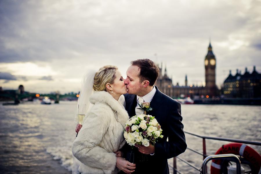 Thames river boat wedding