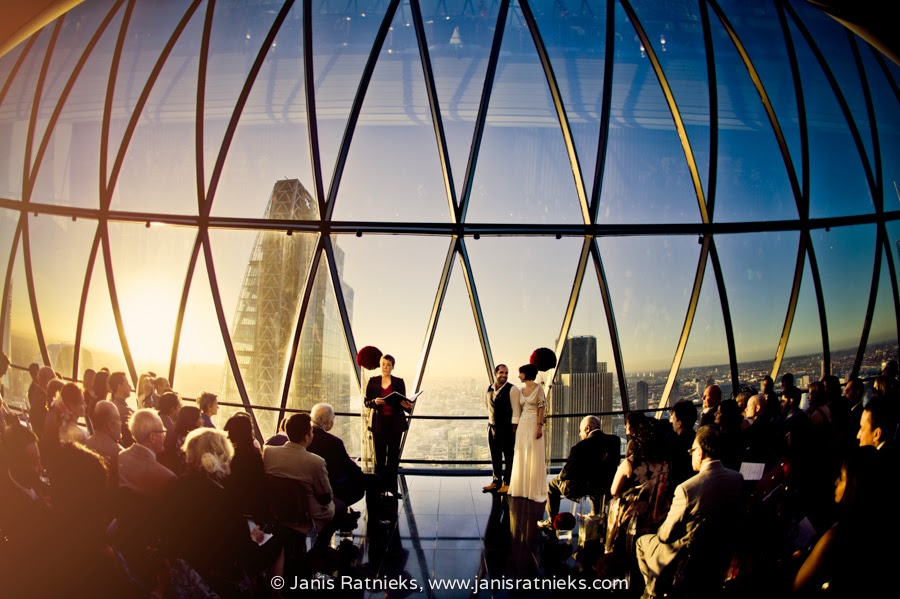 fisheye shot wedding in gherkin
