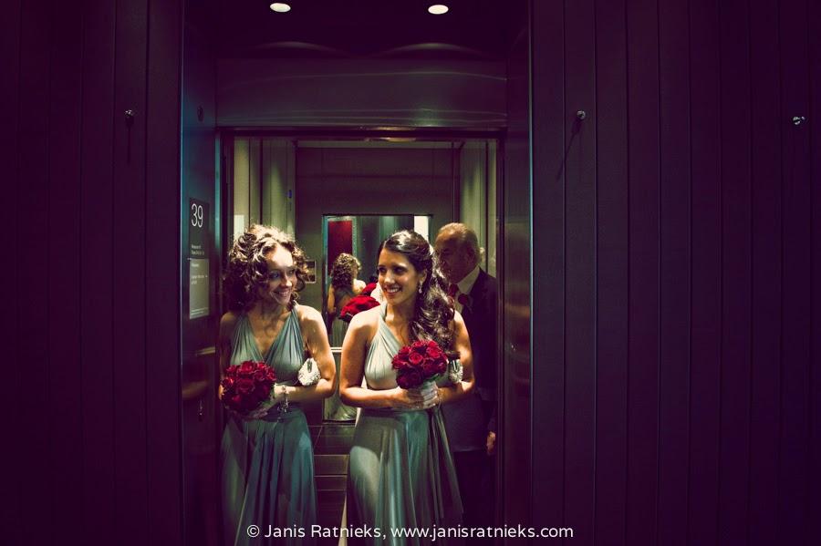 bridesmaids arriving to wedding in Gherkin