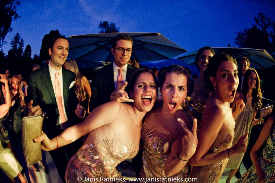 fisheye shot of wedding party