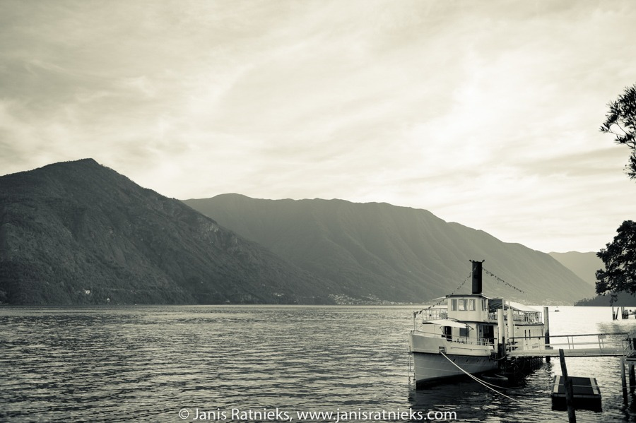 lake Como landscape steam boat