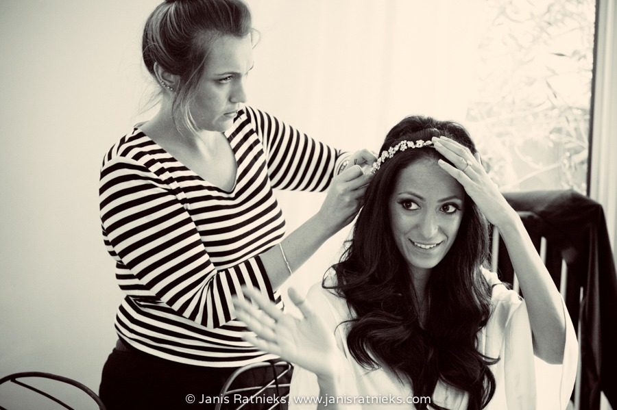 bride getting ready London wedding tiara