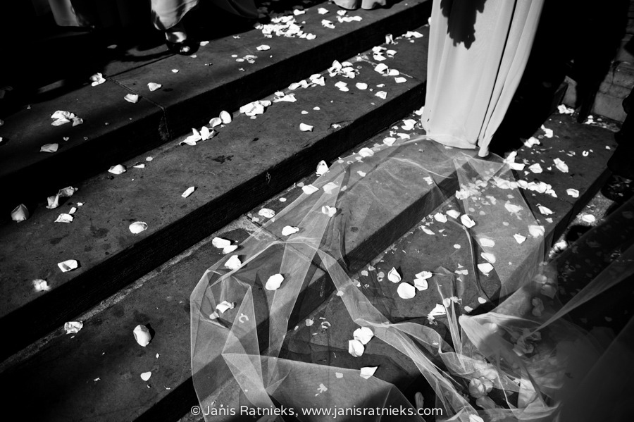 rose petals church front stairs