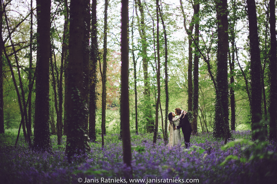spring wedding bluebell forest
